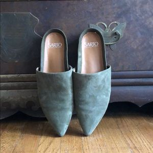 NWT Franco Sarto Olive Suede Mules • Anthropologie